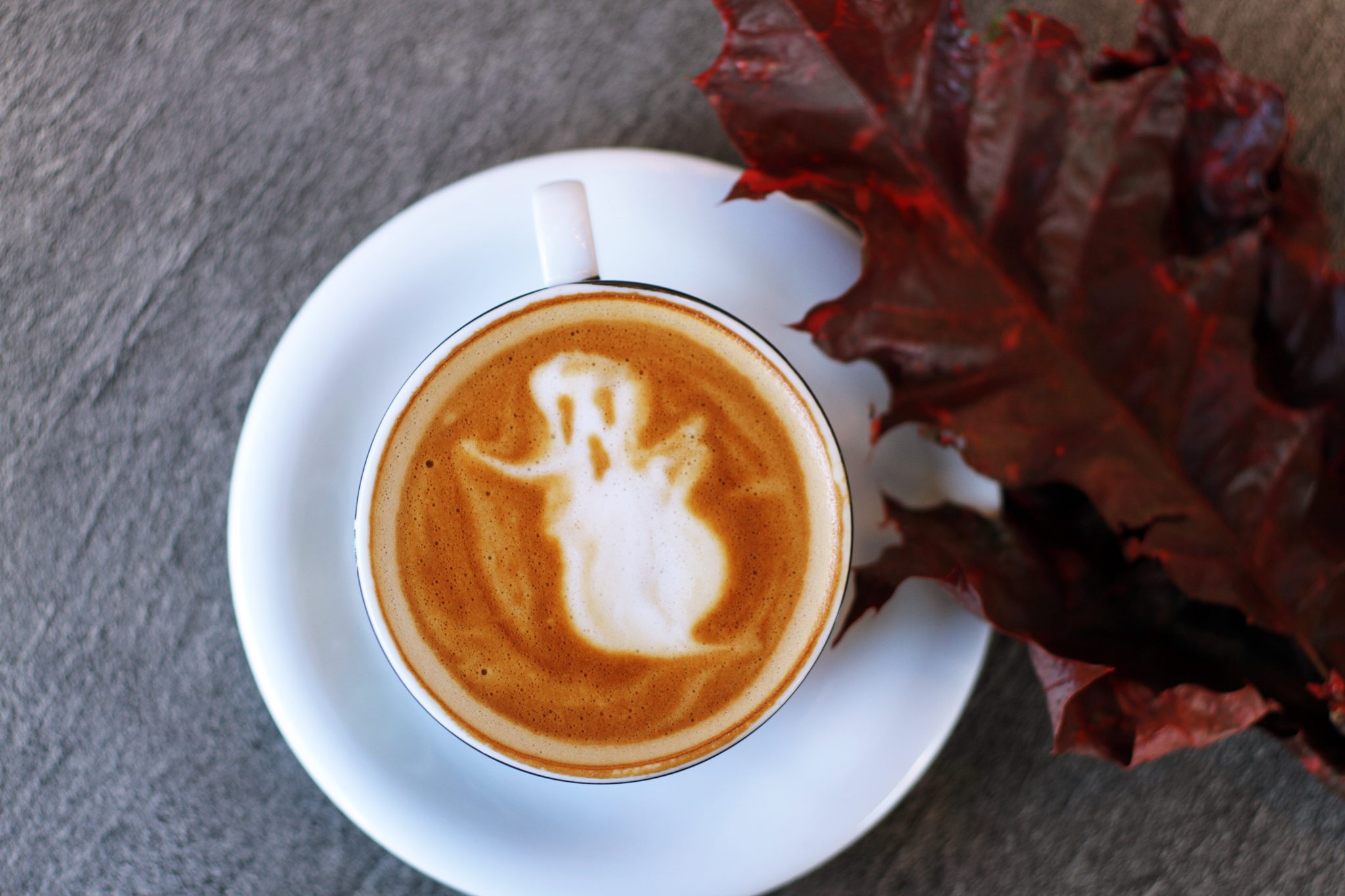 Ghost in Latte Foam for October Social Media Holidays
