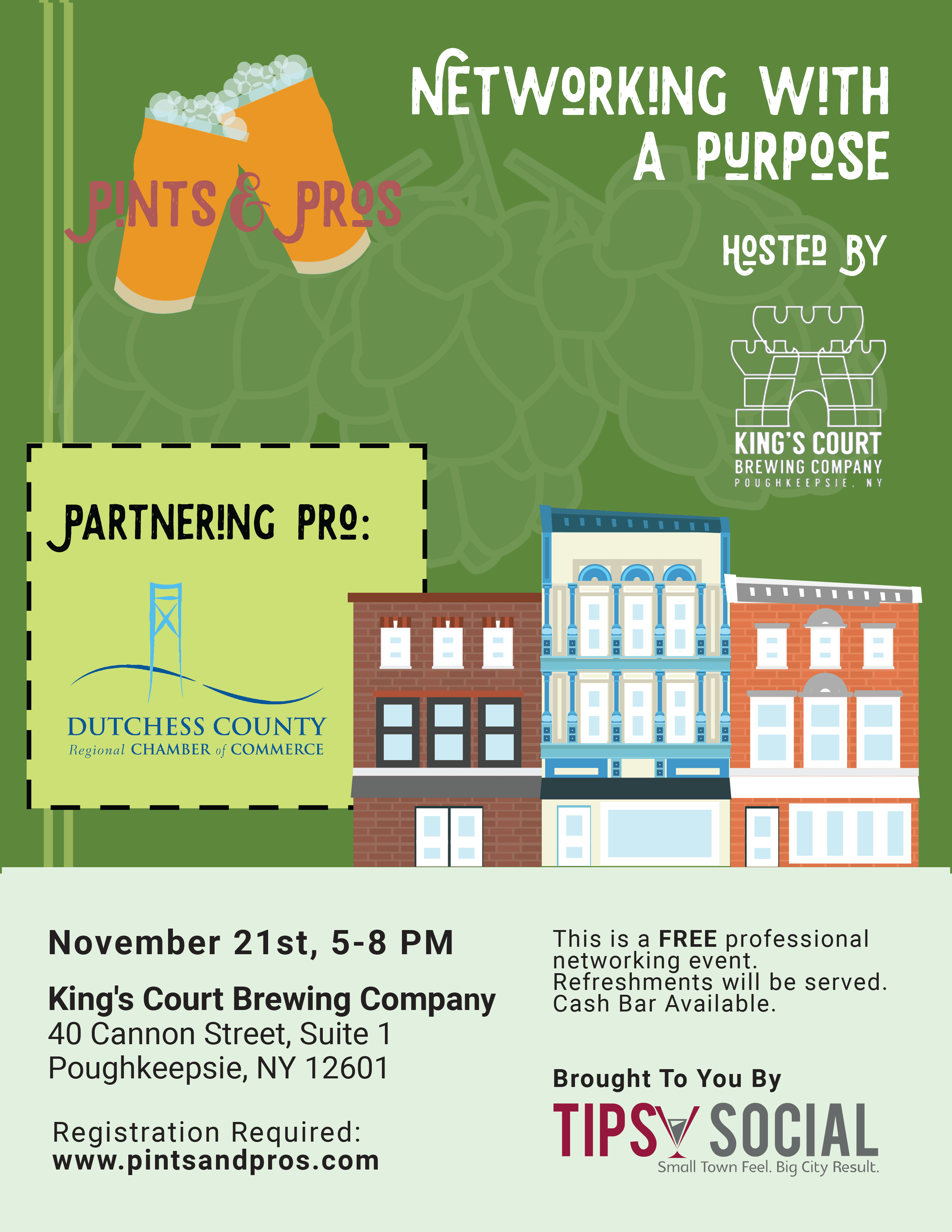 King's Court Brewing Company Pints & Pros Flyer
